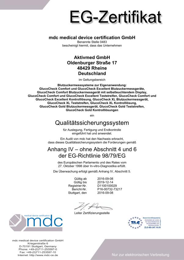 MDC Zertifikat